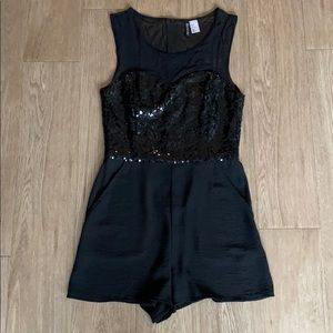 DIVIDED by H&M black sequin mesh romper. Size 8.
